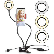 Selfie Ring Light mit LED-Licht, Helligkeitsregelung + flexiblen Armen
