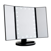Uniq Hollywood Trifold Makeup Mirror with LED Light - Schwarz