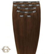 Clip on hair extensions #6 Brown - 7 pieces - 50 cm | Gold24